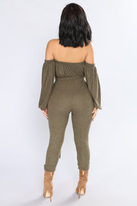 Don't Cry On My Shoulder Jumpsuit - Olive