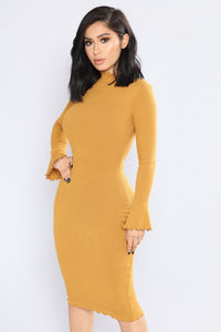 Shana Ribbed Dress - Mustard