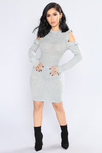 Soft Feels Sweater Dress - Heather Grey