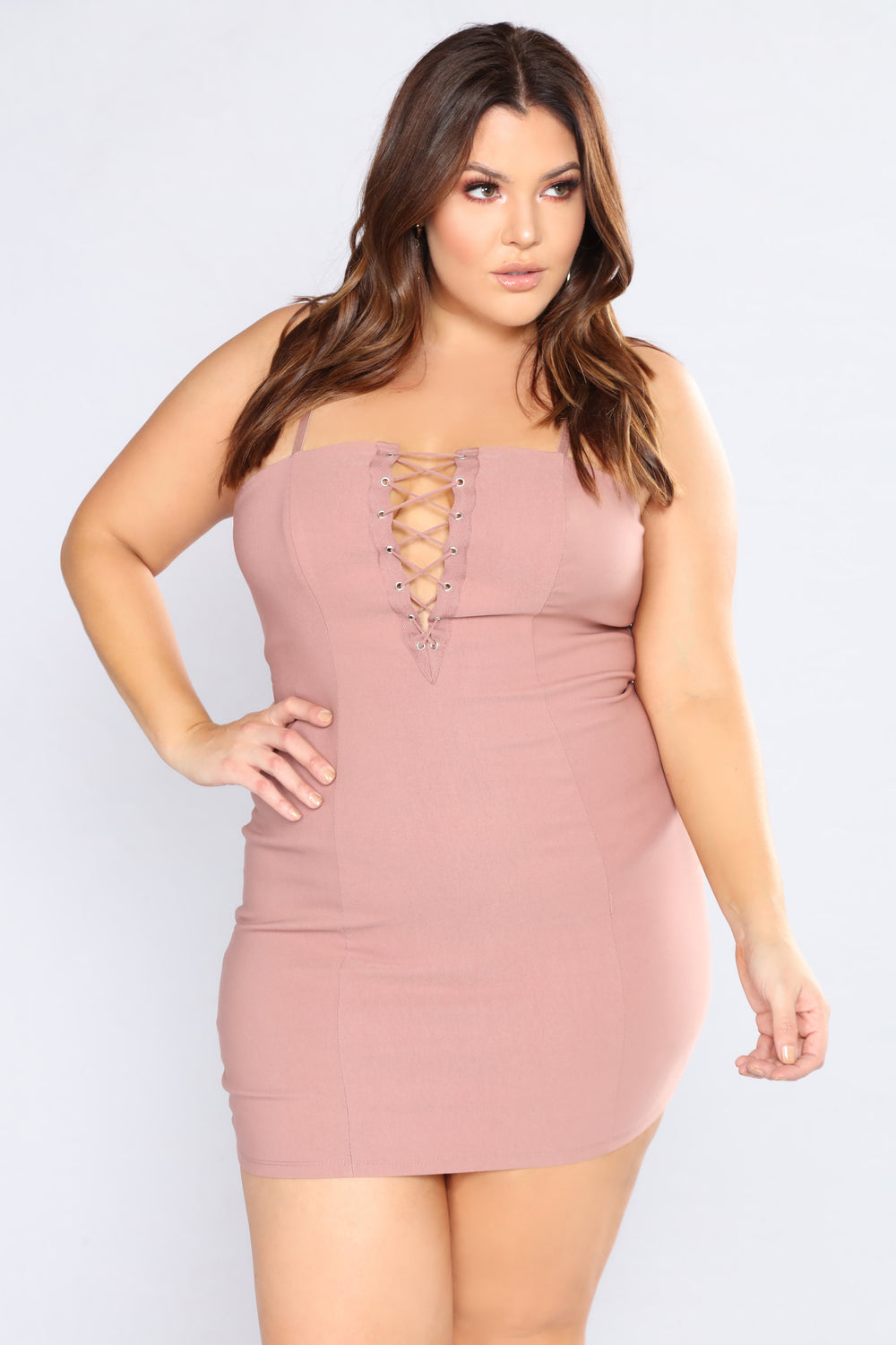 Racy Laced Up Dress - Mauve