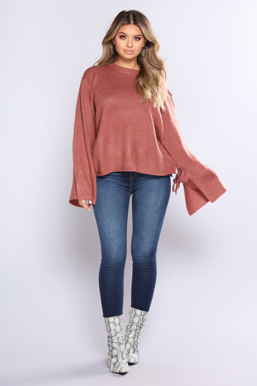 Lulu Knotted Sleeve Sweater - Red Bean