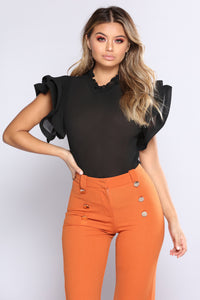 Take A Risk Ruffle Top - Black