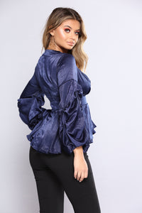 Pucker My Sleeve Top - Navy