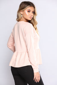 Down For Whateva Peplum Top - Rose pink