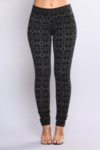 Elisa Flocked Leggings - Charcoal