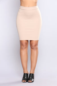 Made You Look Ponte Skirt - Khaki