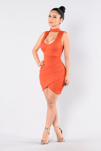 Silky Passion Dress - Rust