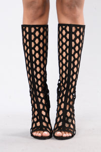Caged Babe Boot - Black