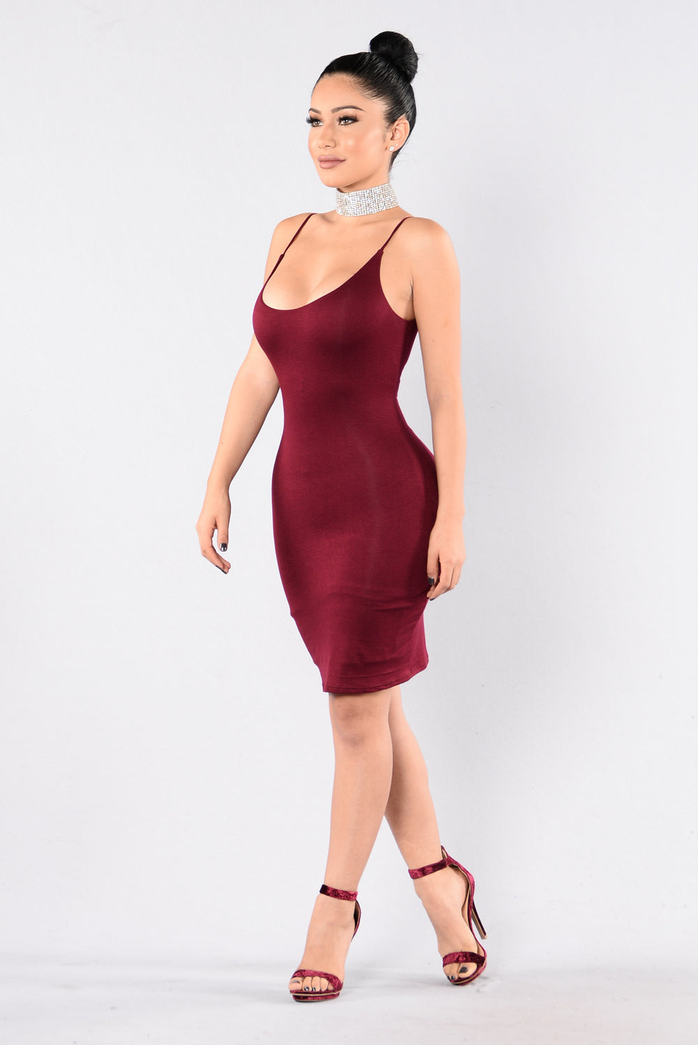 Strap Up Dress - Burgundy