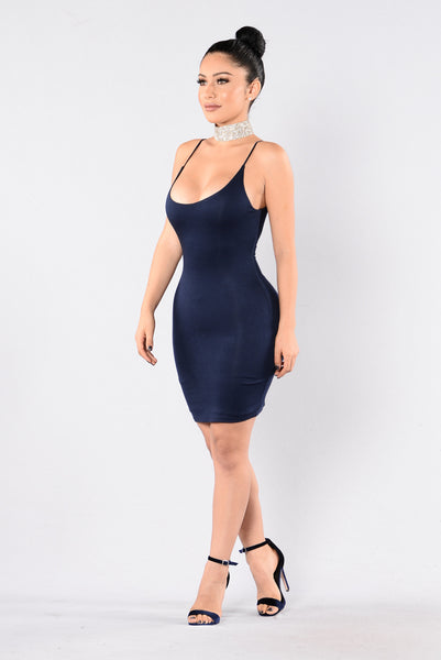 Strap Up Dress - Navy