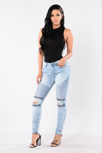 Walk This Way Moto Jeans - Blue
