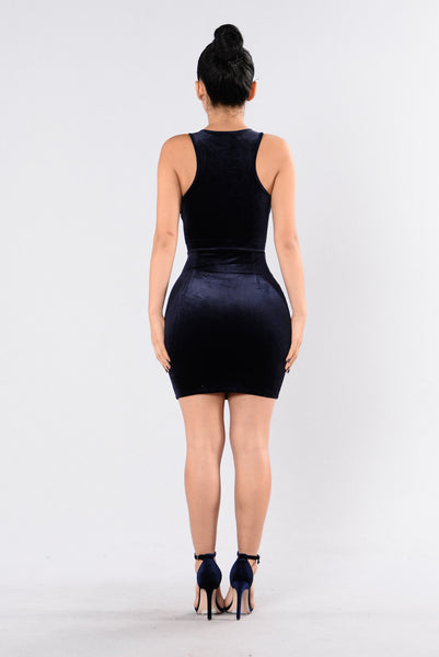 Kyrie Lace Up Dress - Navy