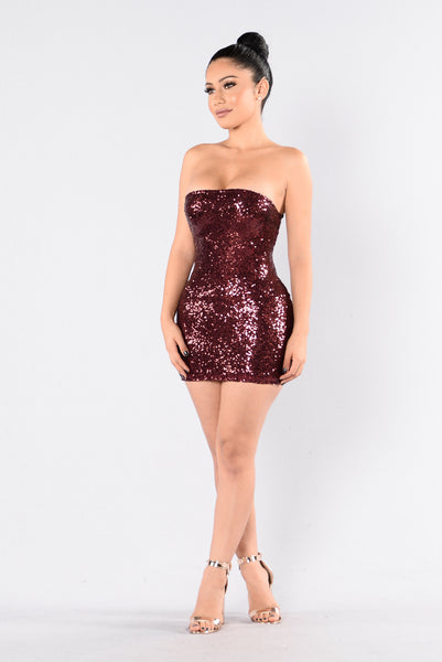 Mad About You Sequin Dress - Burgundy
