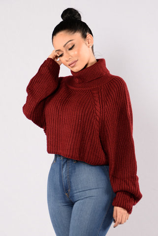 A Woman's Worth Sweater - Wine
