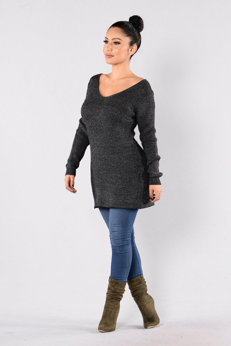 Back It Up Sweater - Charcoal