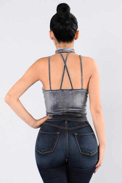Southside Art Midnight Crop Top - Gunmetal