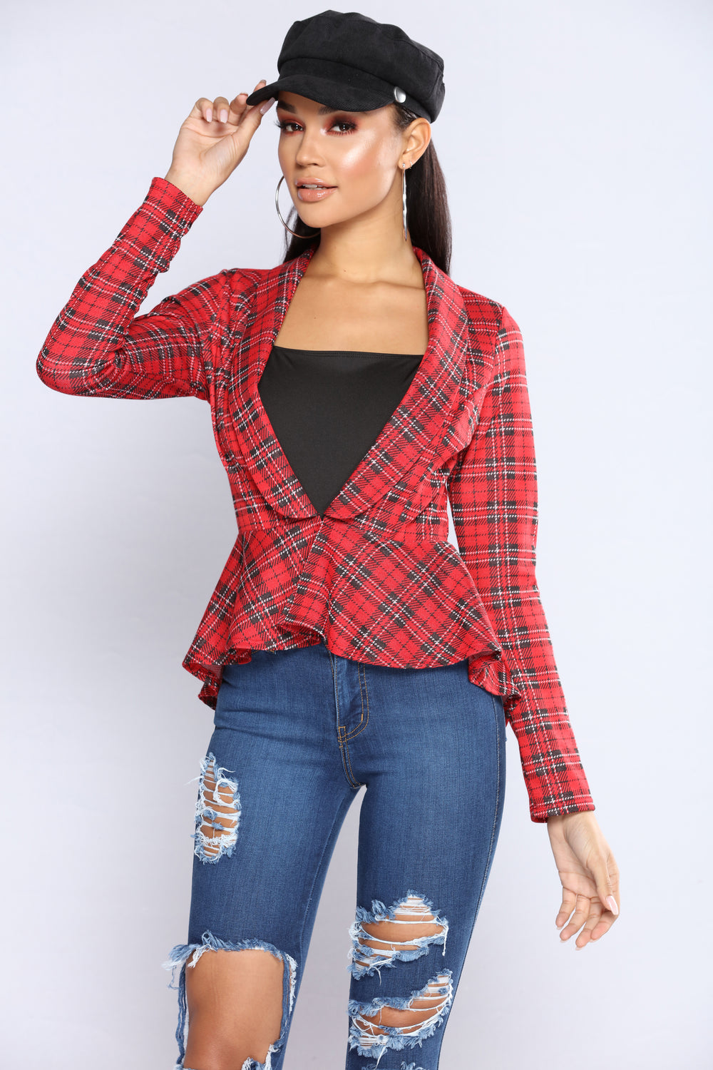Up In My Mind Plaid Jacket - Red