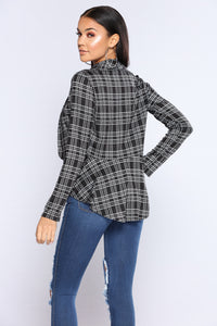 Not In My Mind Plaid Jacket - Black