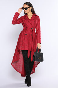 The High And Lows Lace Trench Coat - Burgundy