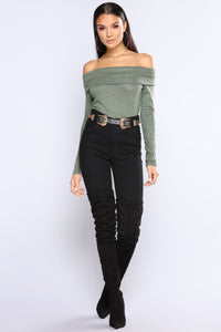 Marie Off The Shoulder Sweater - Olive
