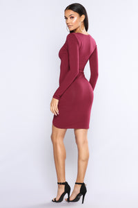 Put Me Out Asymmetrical Dress - Wine