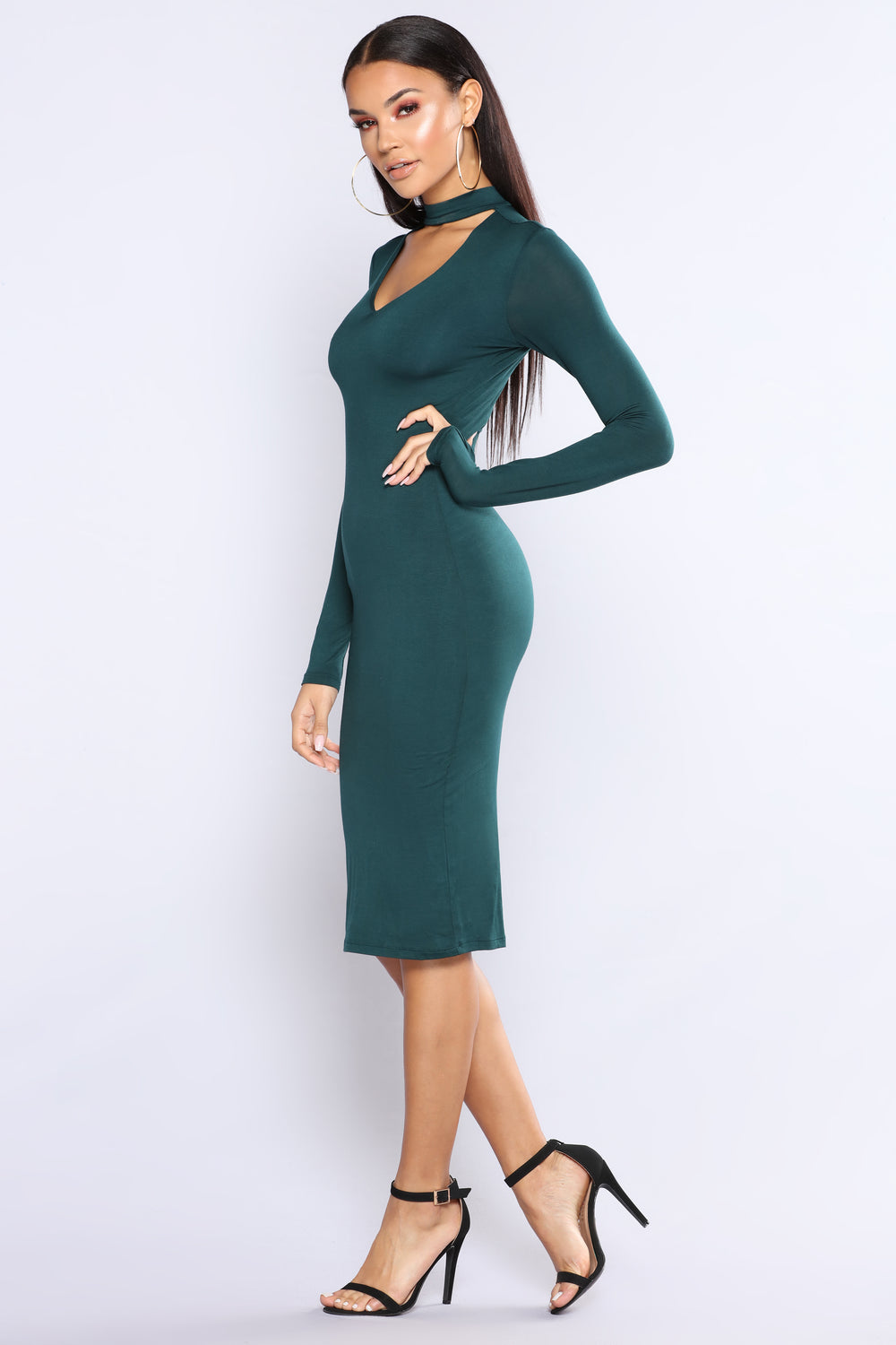 Different Beat Choker Dress - Hunter Green
