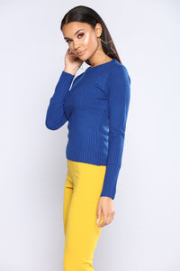It's Necessary Ribbed Top - Royal