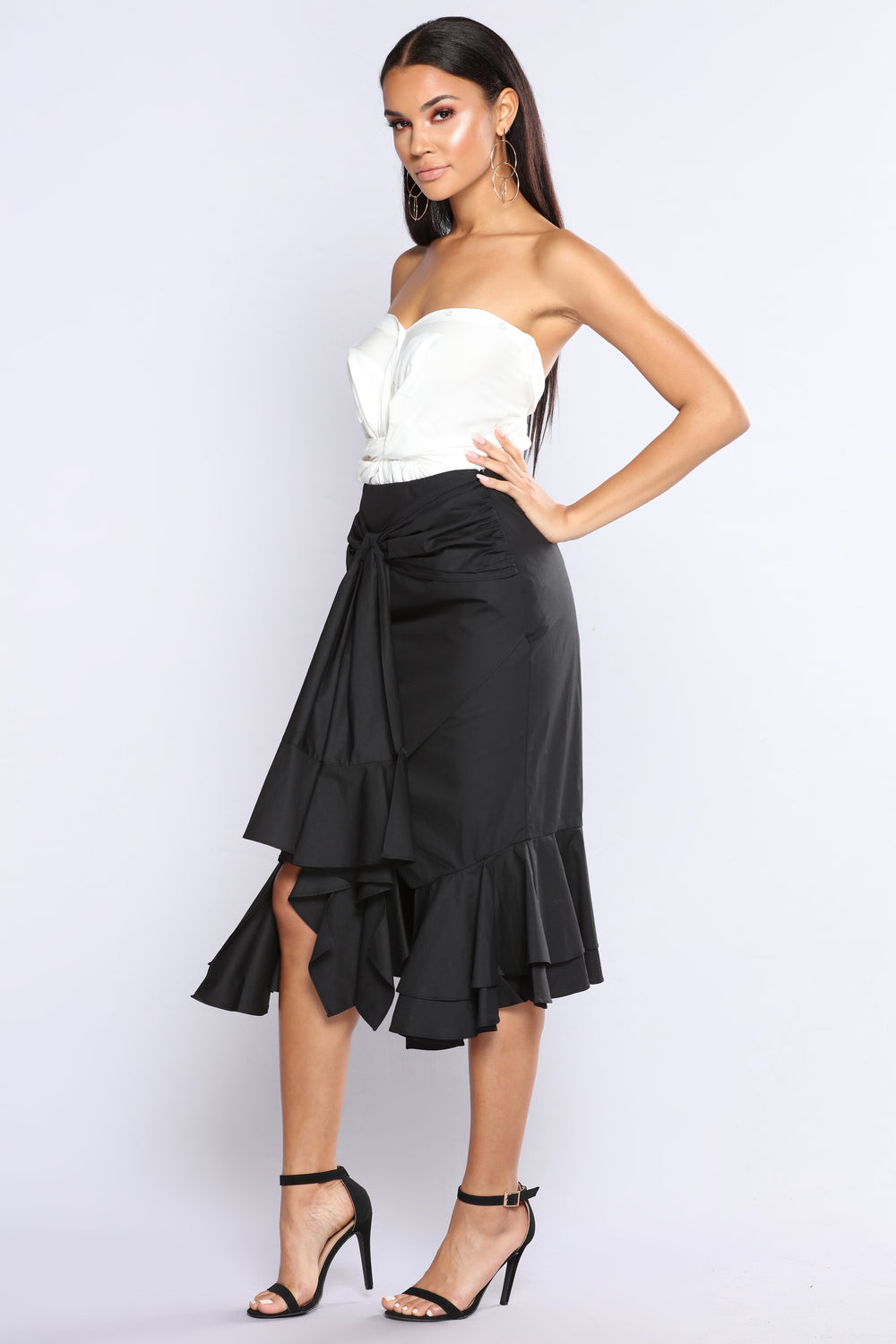 So Knotted Midi Skirt - Black