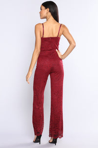 Sweet And Salty Lace Jumpsuit - Burgundy