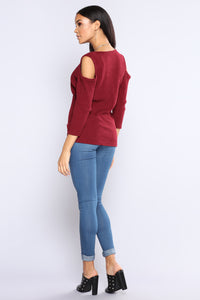 Most Loveable Surplice Top - Burgundy