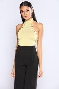 Amber Halter Lace Up Bodysuit - Yellow