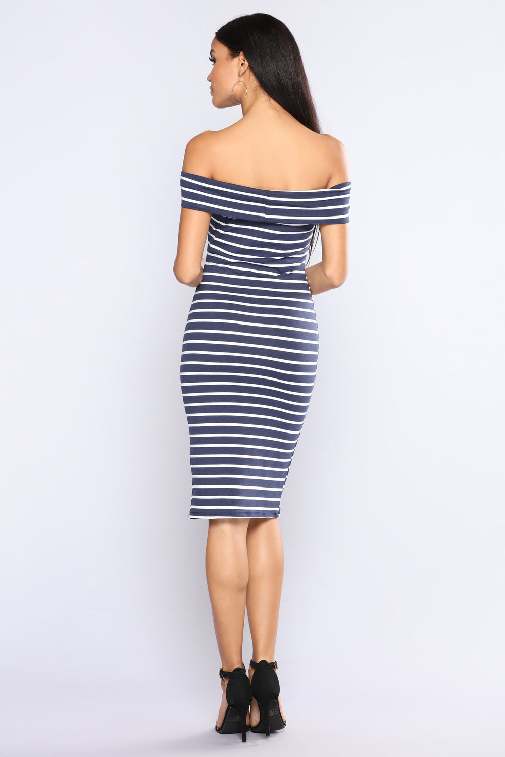 Briony Striped Dress - Navy/White