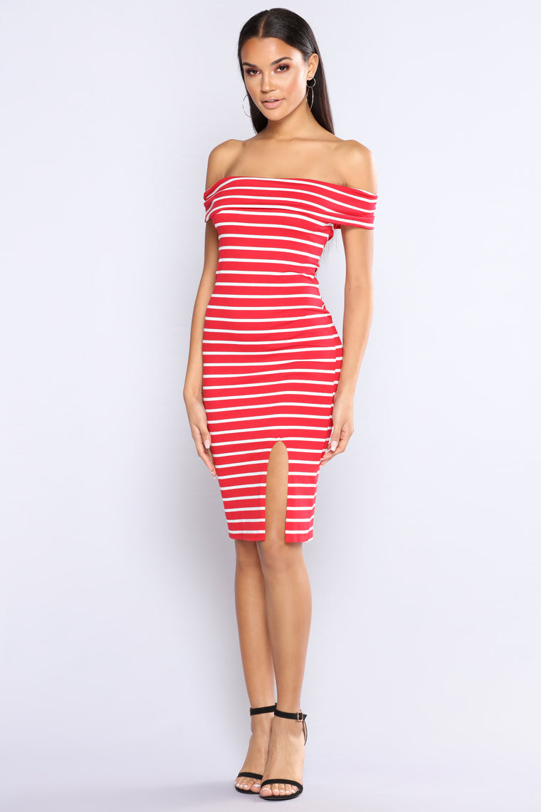 Briony Striped Dress - Red/White