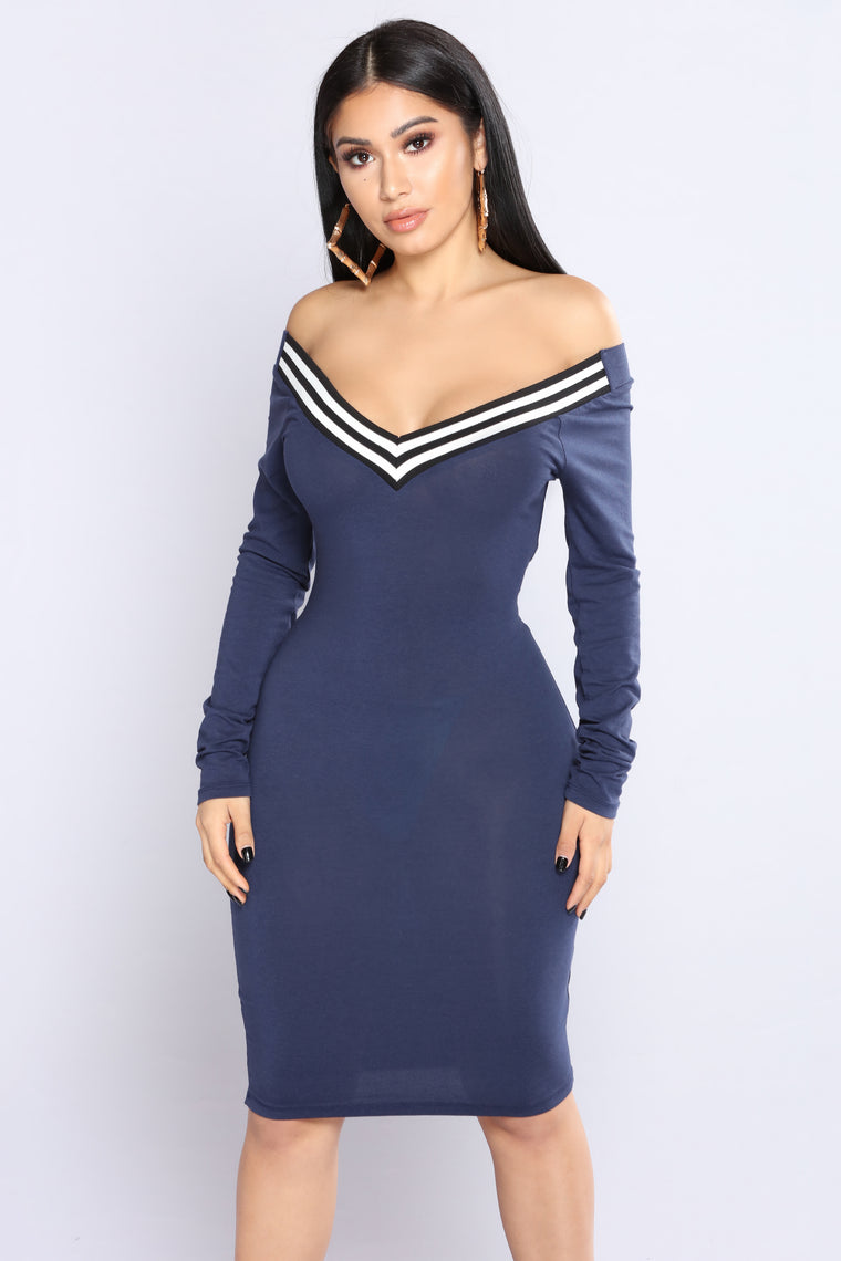 Lift You Up Off Shoulder Dress - Navy
