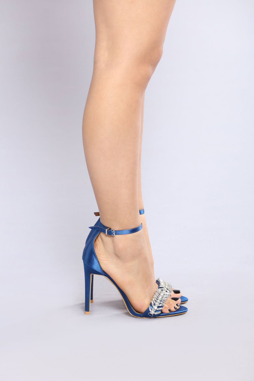 Christal Satin Heel - Navy