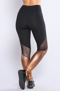 Rosie Metallic Active Leggings - Rose Gold