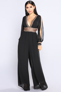 Countess Embroidered Jumpsuit - Black
