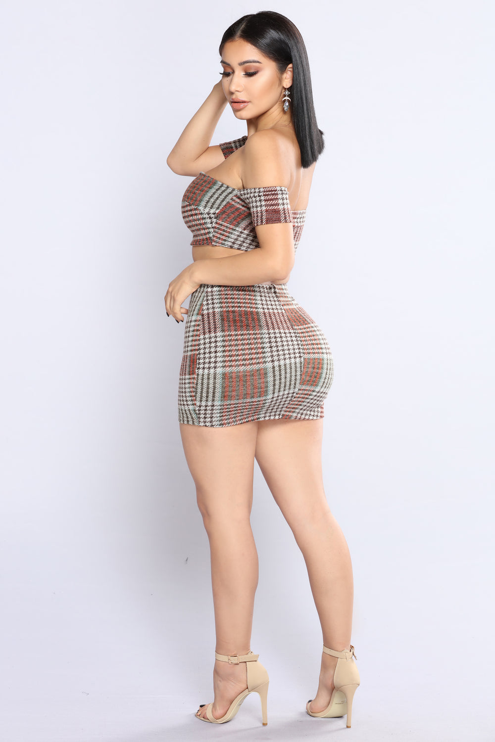 Plaid Made Me Do It Skirt Set - Brown