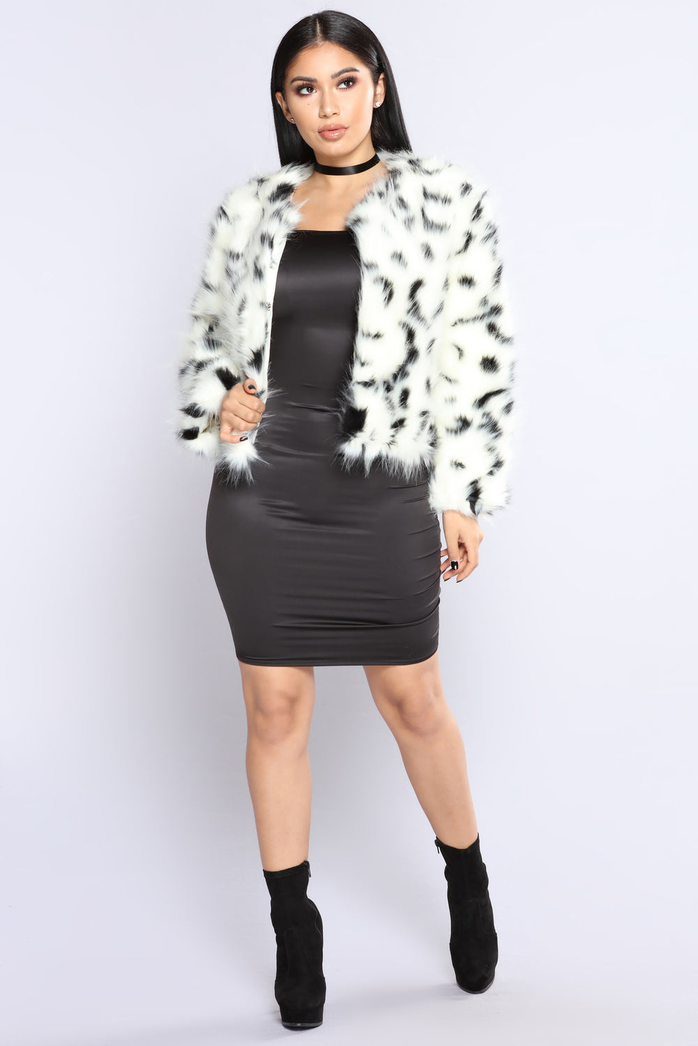 Charlotte Faux Fur Jacket - Black/White