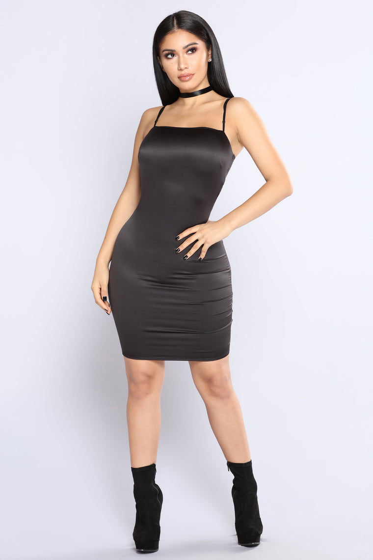 Passionate Satin Dress  - Black
