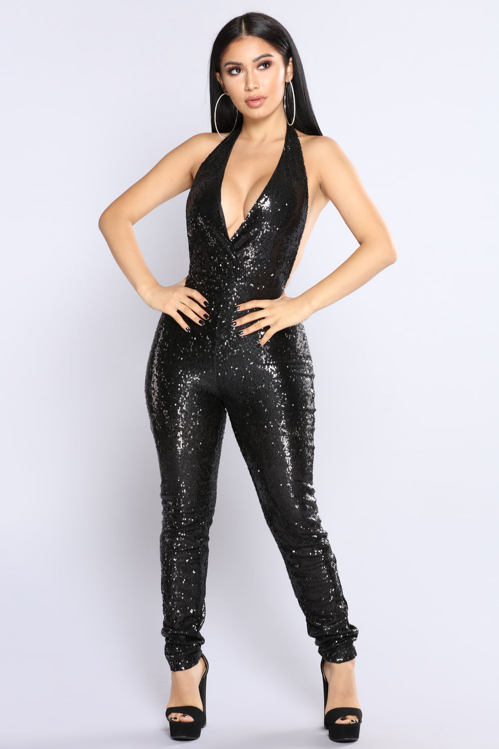 For The Thrill Sequin Jumpsuit - Black