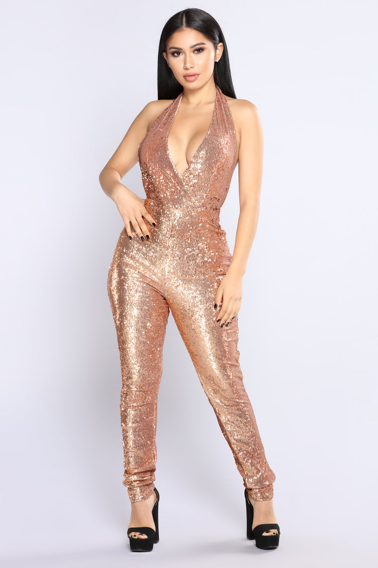 For The Thrill Sequin Jumpsuit Rose Gold Fashion Nova
