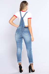 Exposed Boyfriend Overalls - Light Blue Wash