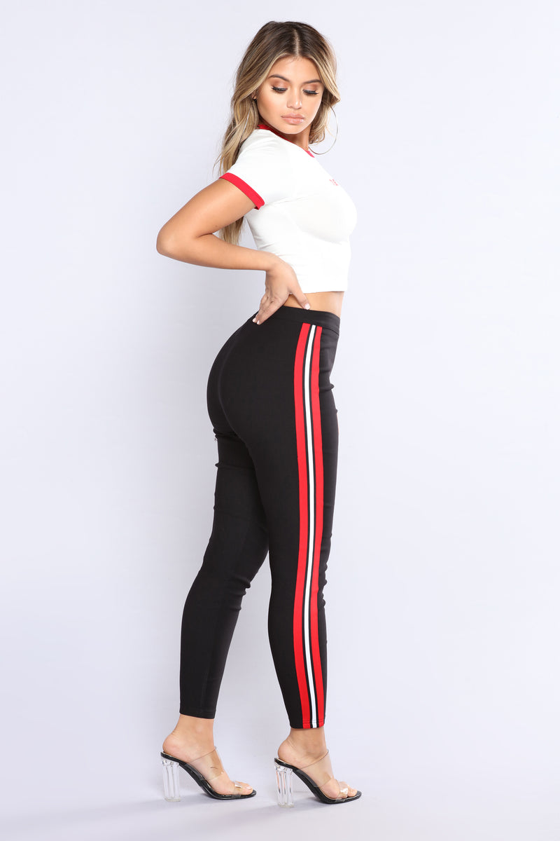 Three Stripe You're Out Pants - Black/Red/White