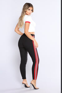 Three Stripe You're Out Pants - Black/Red/White Angle 5