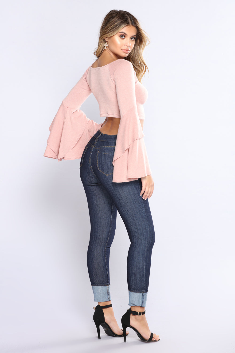 Allie Tiered Bell Sleeve Sweater - Mauve