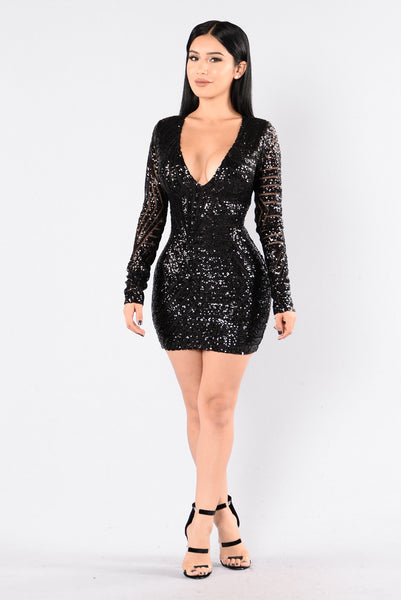 Fashionably Late Dress - Black/Black