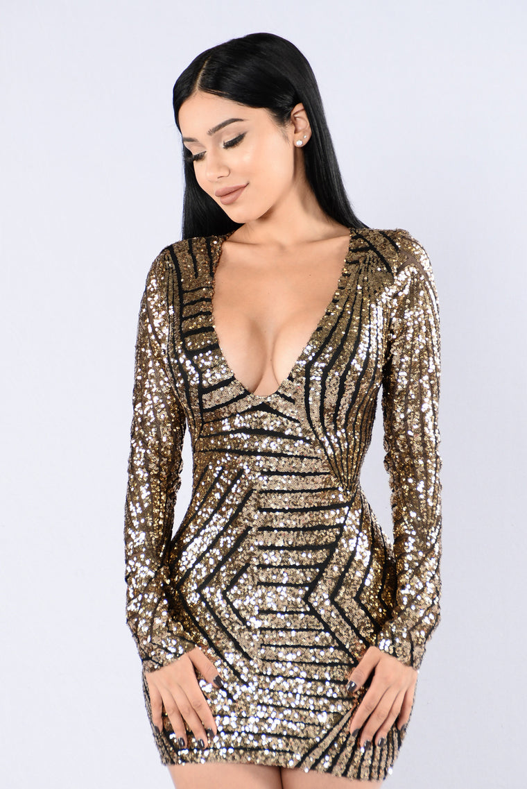Fashionably Late Dress - Black/Gold