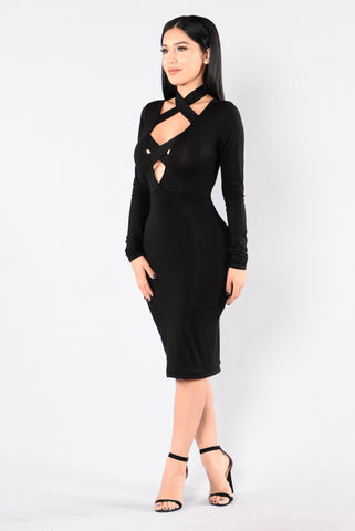 Switching Up Dress - Black