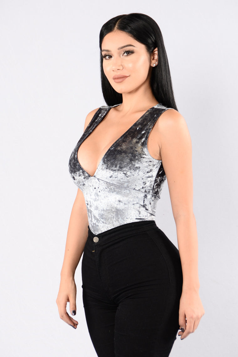 Deep In The Night Bodysuit - Silver/Blue